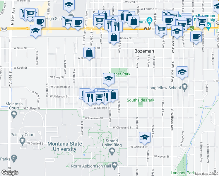 map of restaurants, bars, coffee shops, grocery stores, and more near 520-598 South 8th Avenue in Bozeman