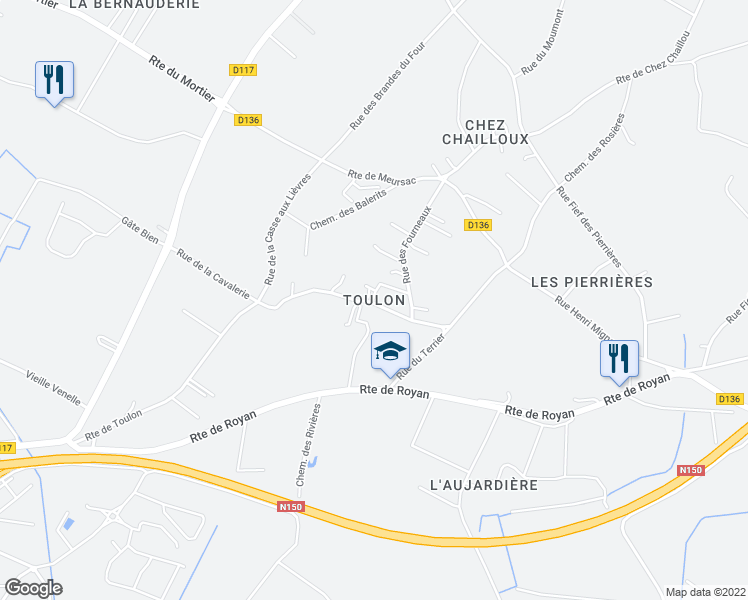 map of restaurants, bars, coffee shops, grocery stores, and more near 44 Rue de Toulon in Sablonceaux