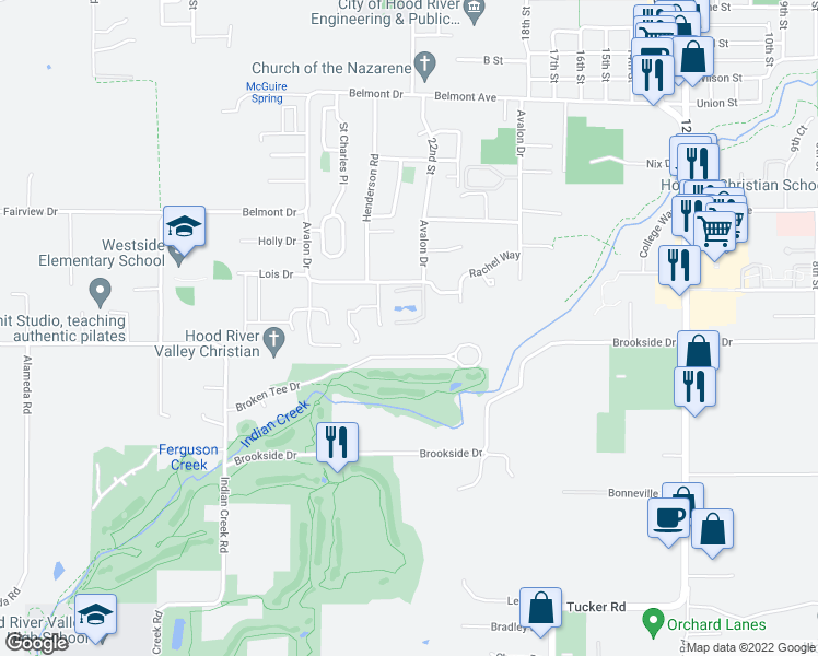 map of restaurants, bars, coffee shops, grocery stores, and more near 3477 Avalon Drive in Hood River