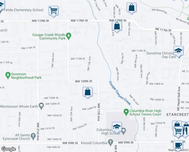 map of restaurants, bars, coffee shops, grocery stores, and more near 1104 Northwest 109th Street in Vancouver