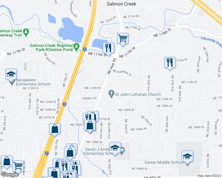 map of restaurants, bars, coffee shops, grocery stores, and more near 11201 Northeast Highway 99 in Vancouver