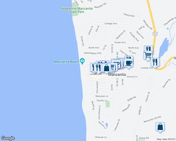 map of restaurants, bars, coffee shops, grocery stores, and more near 166 Ocean Rd in Manzanita