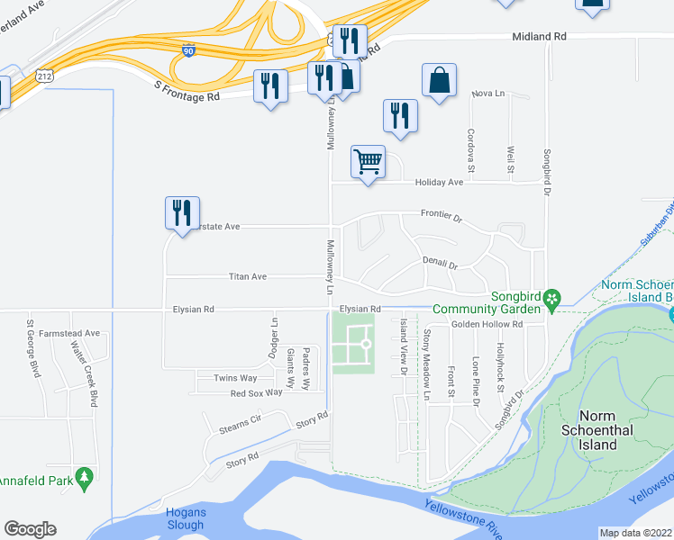 map of restaurants, bars, coffee shops, grocery stores, and more near 1580 River Edge Road in Billings