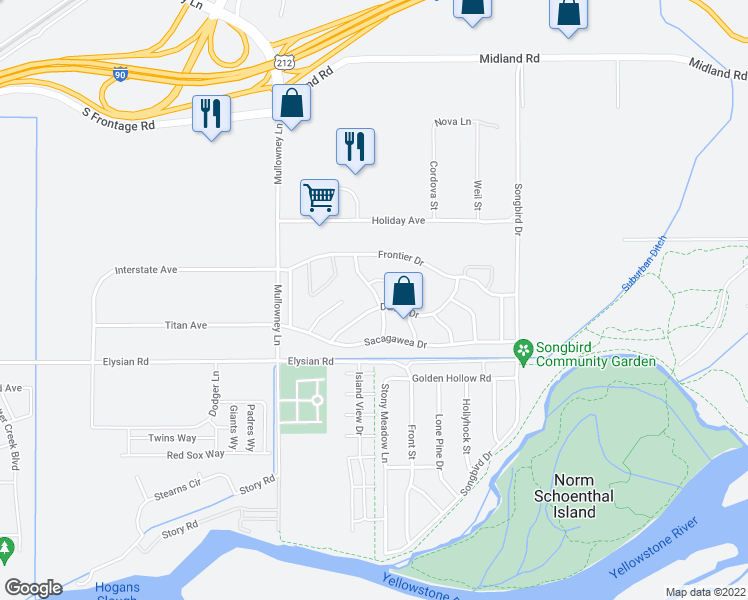 map of restaurants, bars, coffee shops, grocery stores, and more near 1446 Chesapeake Lane in Billings
