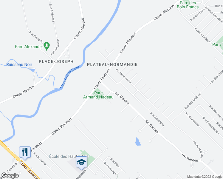 map of restaurants, bars, coffee shops, grocery stores, and more near in Mascouche