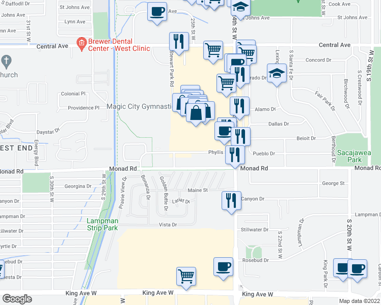 map of restaurants, bars, coffee shops, grocery stores, and more near 2604 Phyllis Lane in Billings