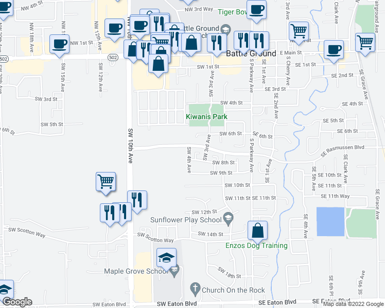 map of restaurants, bars, coffee shops, grocery stores, and more near 725 SW 4th Ave in Battle Ground