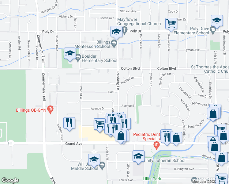 map of restaurants, bars, coffee shops, grocery stores, and more near 3006 Ave F in Billings