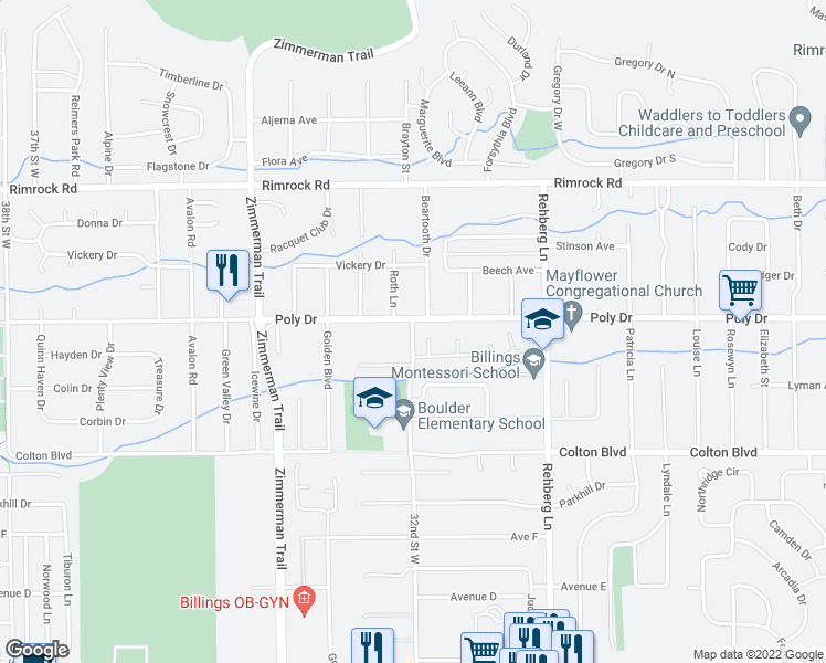 map of restaurants, bars, coffee shops, grocery stores, and more near 3200-3214 Poly Drive in Billings