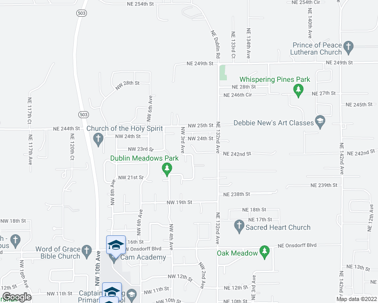 map of restaurants, bars, coffee shops, grocery stores, and more near 208 Northwest 23rd Street in Battle Ground