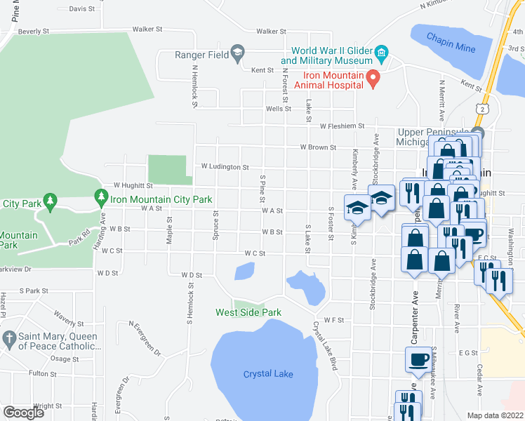 map of restaurants, bars, coffee shops, grocery stores, and more near West A Street in Iron Mountain