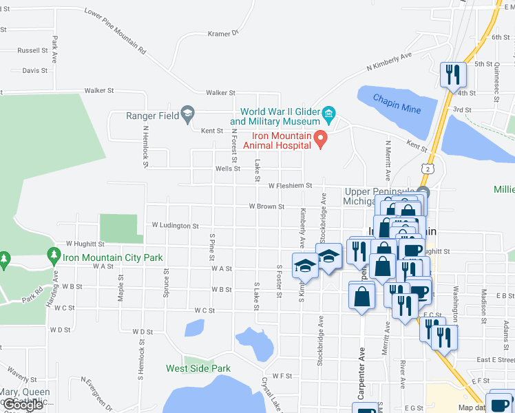 map of restaurants, bars, coffee shops, grocery stores, and more near West Brown Street in Iron Mountain