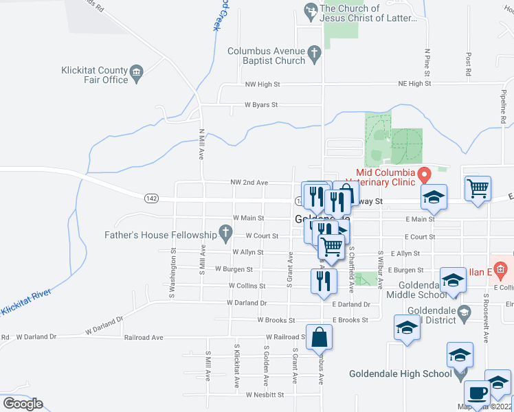 map of restaurants, bars, coffee shops, grocery stores, and more near 300 West Broadway Street in Goldendale