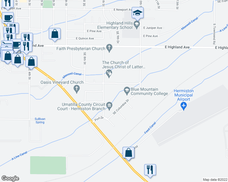 map of restaurants, bars, coffee shops, grocery stores, and more near 990 East View Drive in Hermiston