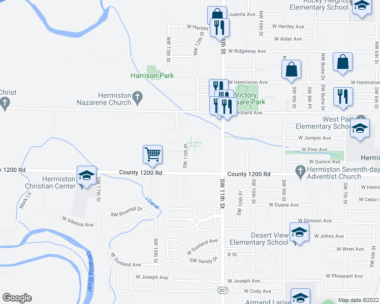 map of restaurants, bars, coffee shops, grocery stores, and more near 1307 Southwest Debra Court in Hermiston