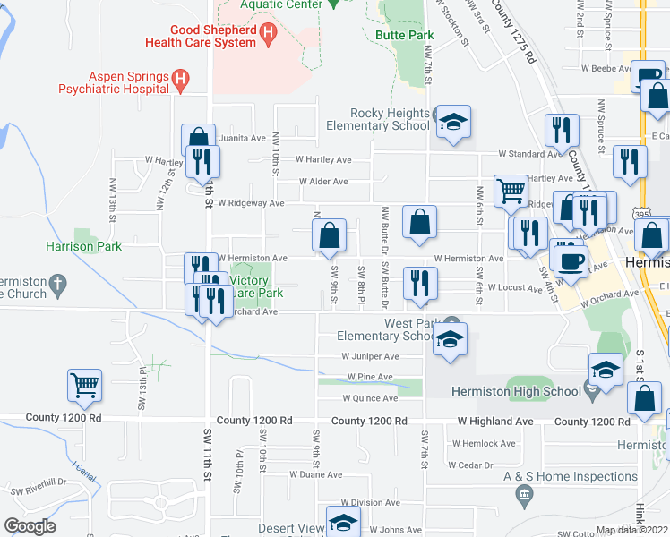 map of restaurants, bars, coffee shops, grocery stores, and more near 925 West Hermiston Avenue in Hermiston