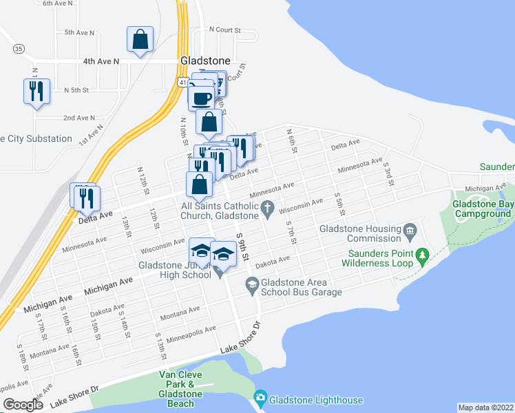 map of restaurants, bars, coffee shops, grocery stores, and more near 8th Street in Gladstone