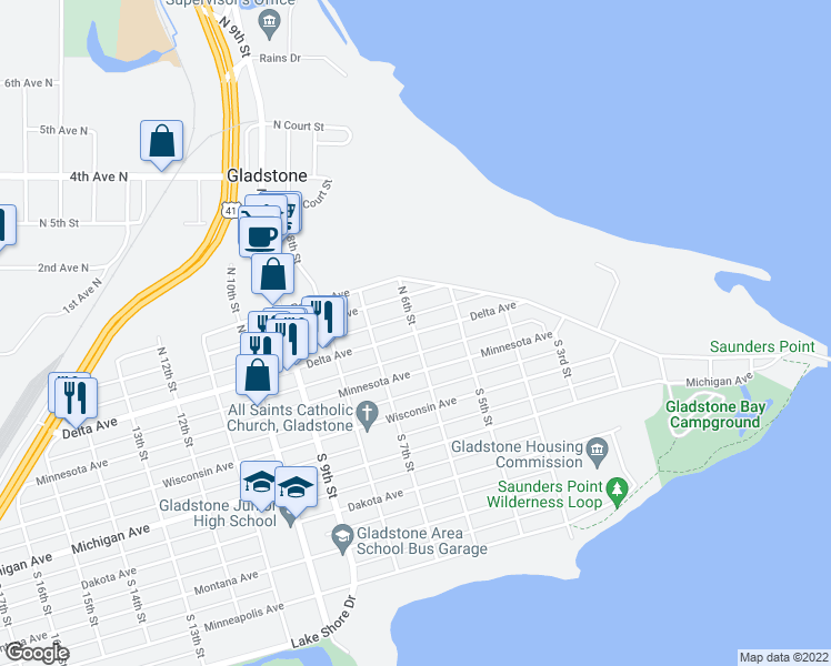 map of restaurants, bars, coffee shops, grocery stores, and more near Delta Avenue in Gladstone