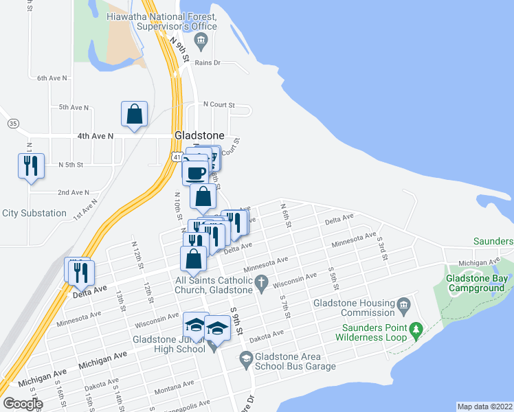 map of restaurants, bars, coffee shops, grocery stores, and more near 7th Street in Gladstone