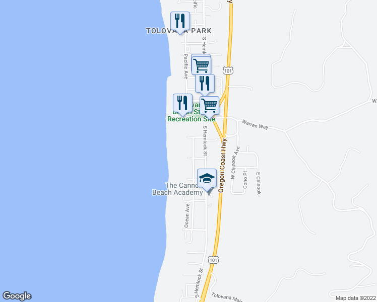 map of restaurants, bars, coffee shops, grocery stores, and more near 3572 South Pacific Street in Cannon Beach