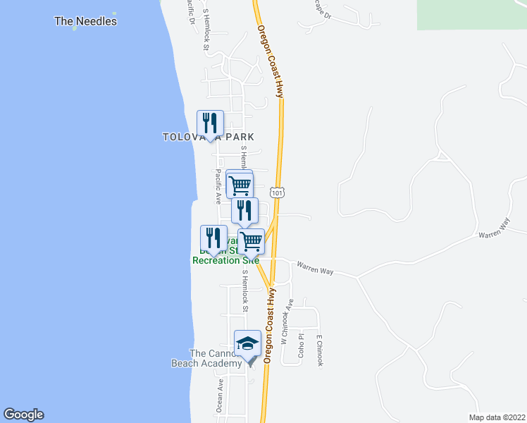 map of restaurants, bars, coffee shops, grocery stores, and more near 132 East Surfcrest Avenue in Cannon Beach