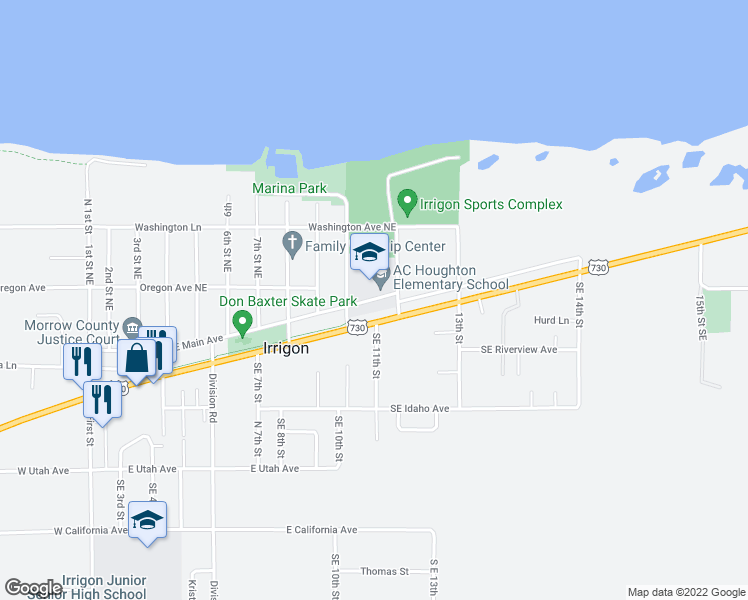 map of restaurants, bars, coffee shops, grocery stores, and more near North Main Avenue Northeast in Irrigon