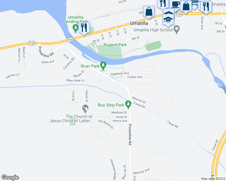 map of restaurants, bars, coffee shops, grocery stores, and more near Columbia Boulevard in Umatilla