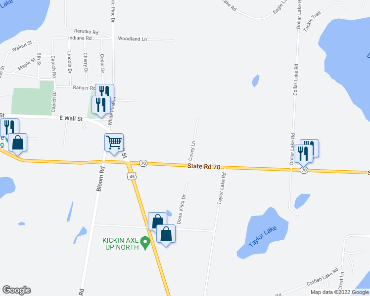 map of restaurants, bars, coffee shops, grocery stores, and more near 1261 Covey Lane in Eagle River
