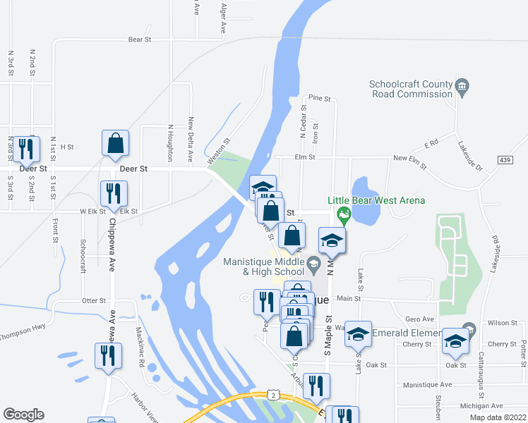 map of restaurants, bars, coffee shops, grocery stores, and more near East Elk Street in Manistique