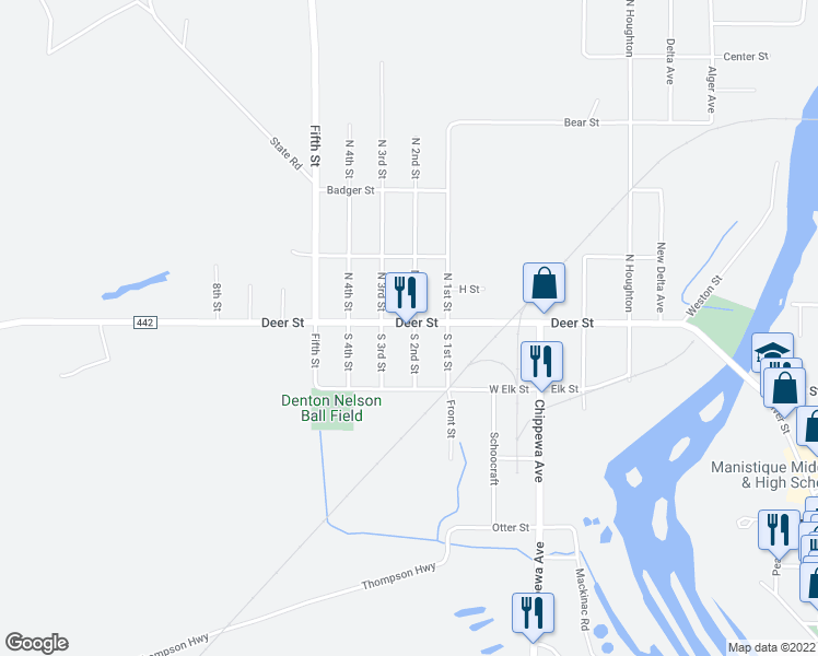 map of restaurants, bars, coffee shops, grocery stores, and more near 100 South 2nd Street in Manistique