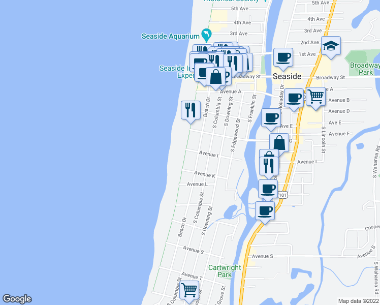 map of restaurants, bars, coffee shops, grocery stores, and more near 921 South Promenade in Seaside
