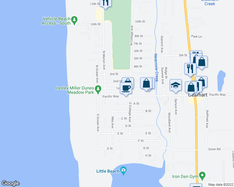map of restaurants, bars, coffee shops, grocery stores, and more near 426 Pacific Way in Gearhart