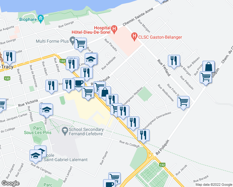 map of restaurants, bars, coffee shops, grocery stores, and more near 264 Rue Guévremont in Sorel-Tracy