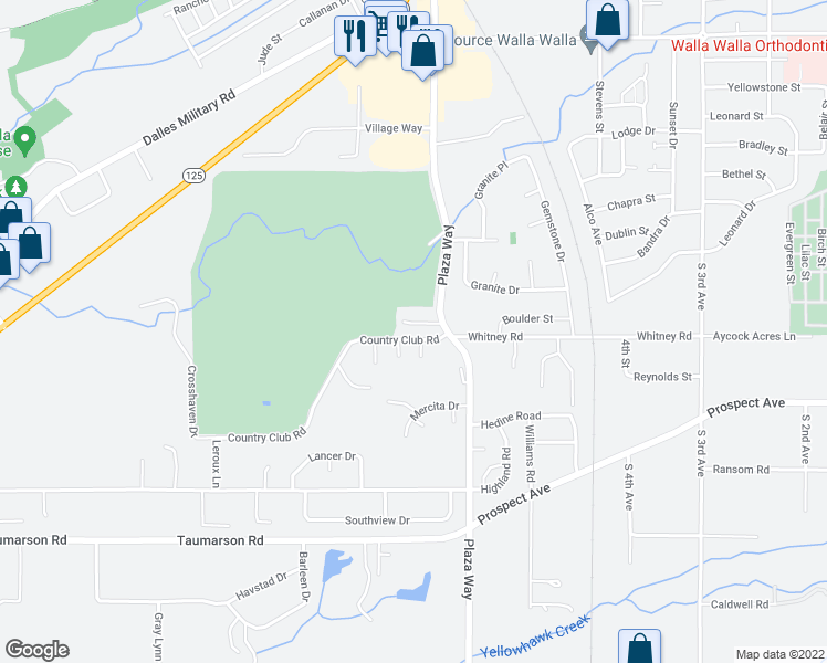 map of restaurants, bars, coffee shops, grocery stores, and more near 692 Country Club Road in Walla Walla