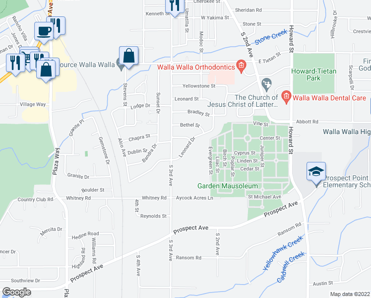map of restaurants, bars, coffee shops, grocery stores, and more near Leonard Drive in Walla Walla