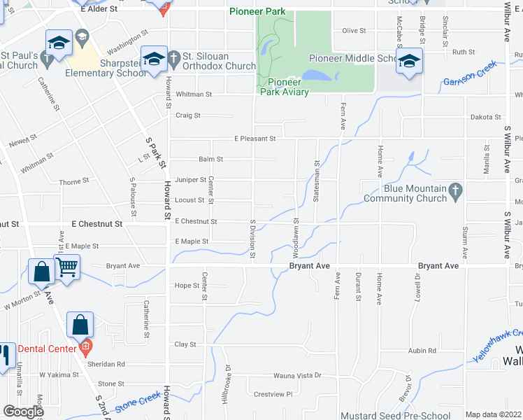 map of restaurants, bars, coffee shops, grocery stores, and more near 732 Roff Lane in Walla Walla