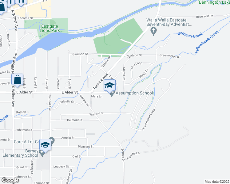 map of restaurants, bars, coffee shops, grocery stores, and more near 2098 Parish Street in Walla Walla
