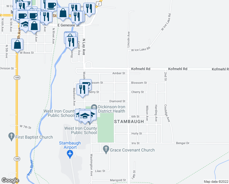 map of restaurants, bars, coffee shops, grocery stores, and more near Cherry Street in Iron River