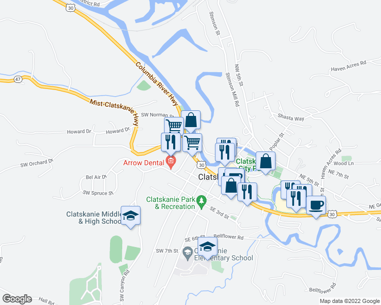 map of restaurants, bars, coffee shops, grocery stores, and more near 260 East Columbia River Highway in Clatskanie