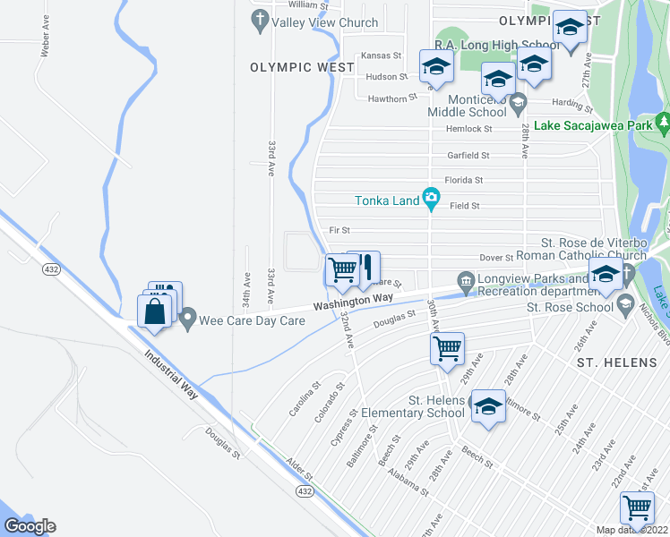 map of restaurants, bars, coffee shops, grocery stores, and more near 850-872 32nd Avenue in Longview