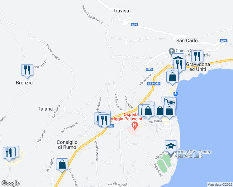 map of restaurants, bars, coffee shops, grocery stores, and more near 14 Via Bersaglio in Gravedona