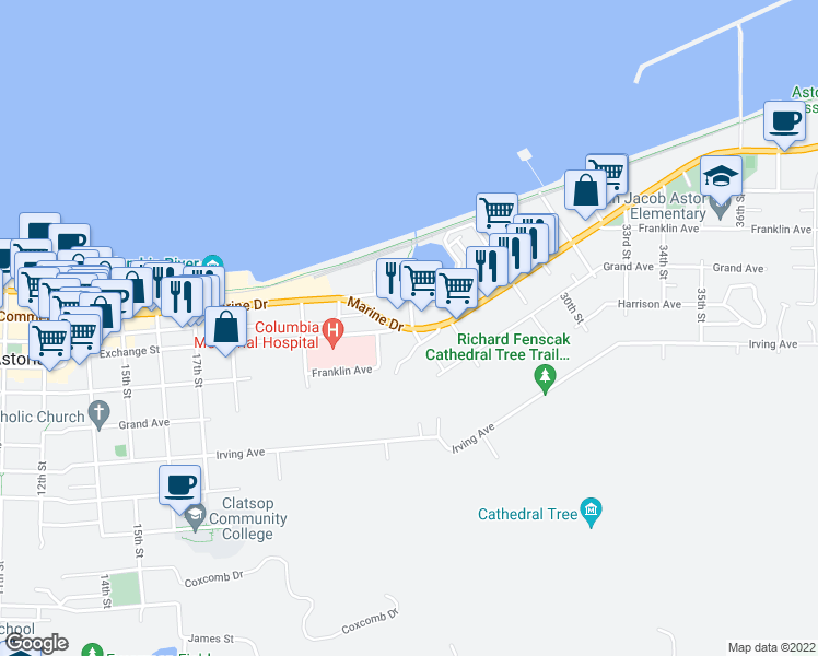 map of restaurants, bars, coffee shops, grocery stores, and more near 2290 Marine Drive in Astoria