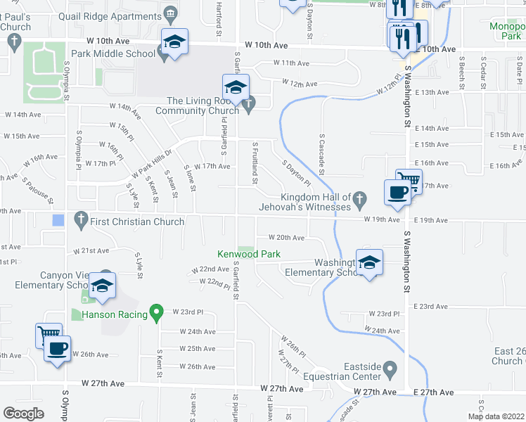 map of restaurants, bars, coffee shops, grocery stores, and more near 514 West 19th Avenue in Kennewick