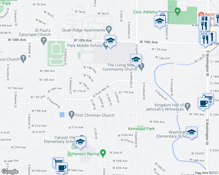 map of restaurants, bars, coffee shops, grocery stores, and more near 1600 South Ione Street in Kennewick
