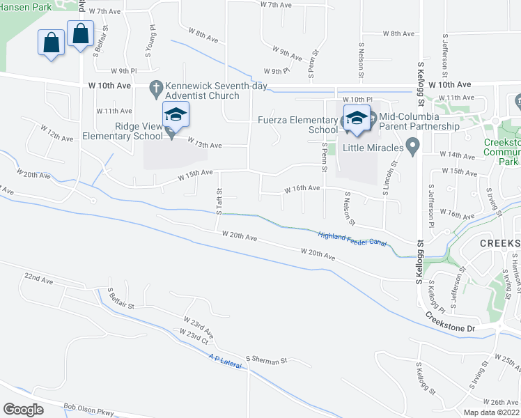 map of restaurants, bars, coffee shops, grocery stores, and more near 1615 South Roosevelt Place in Kennewick