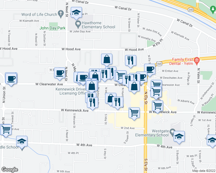 map of restaurants, bars, coffee shops, grocery stores, and more near 3131 West Clearwater Avenue in Kennewick
