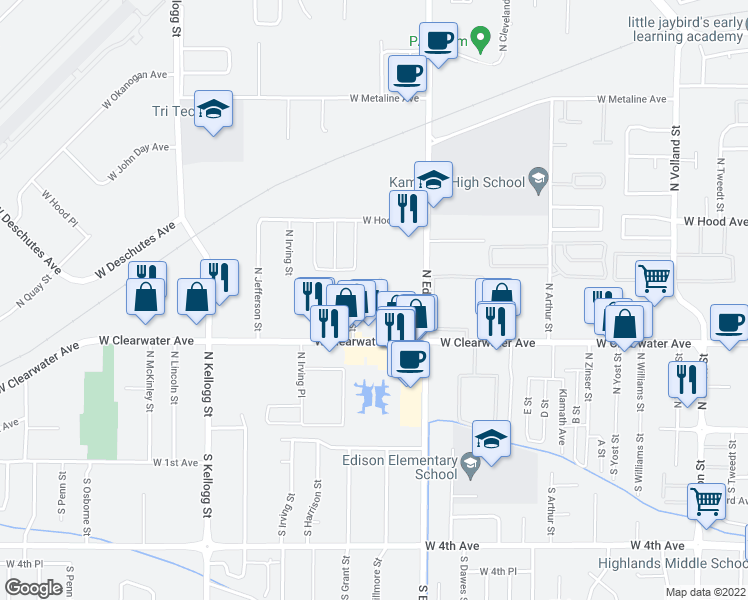 map of restaurants, bars, coffee shops, grocery stores, and more near 325 North Fillmore Street in Kennewick
