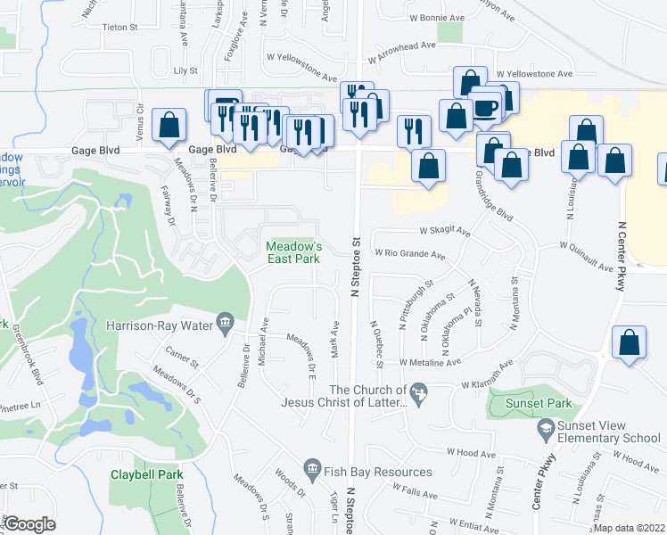 map of restaurants, bars, coffee shops, grocery stores, and more near 2303 Franz Court in Richland