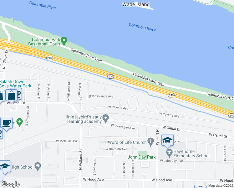 map of restaurants, bars, coffee shops, grocery stores, and more near 4118 West Rio Grande Avenue in Kennewick