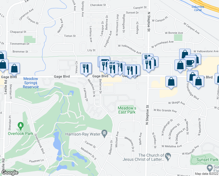 map of restaurants, bars, coffee shops, grocery stores, and more near 1950 Bellerive Dr Way in Richland